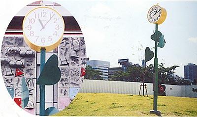 大阪市立扇町公園へソーラーシステム時計塔寄贈